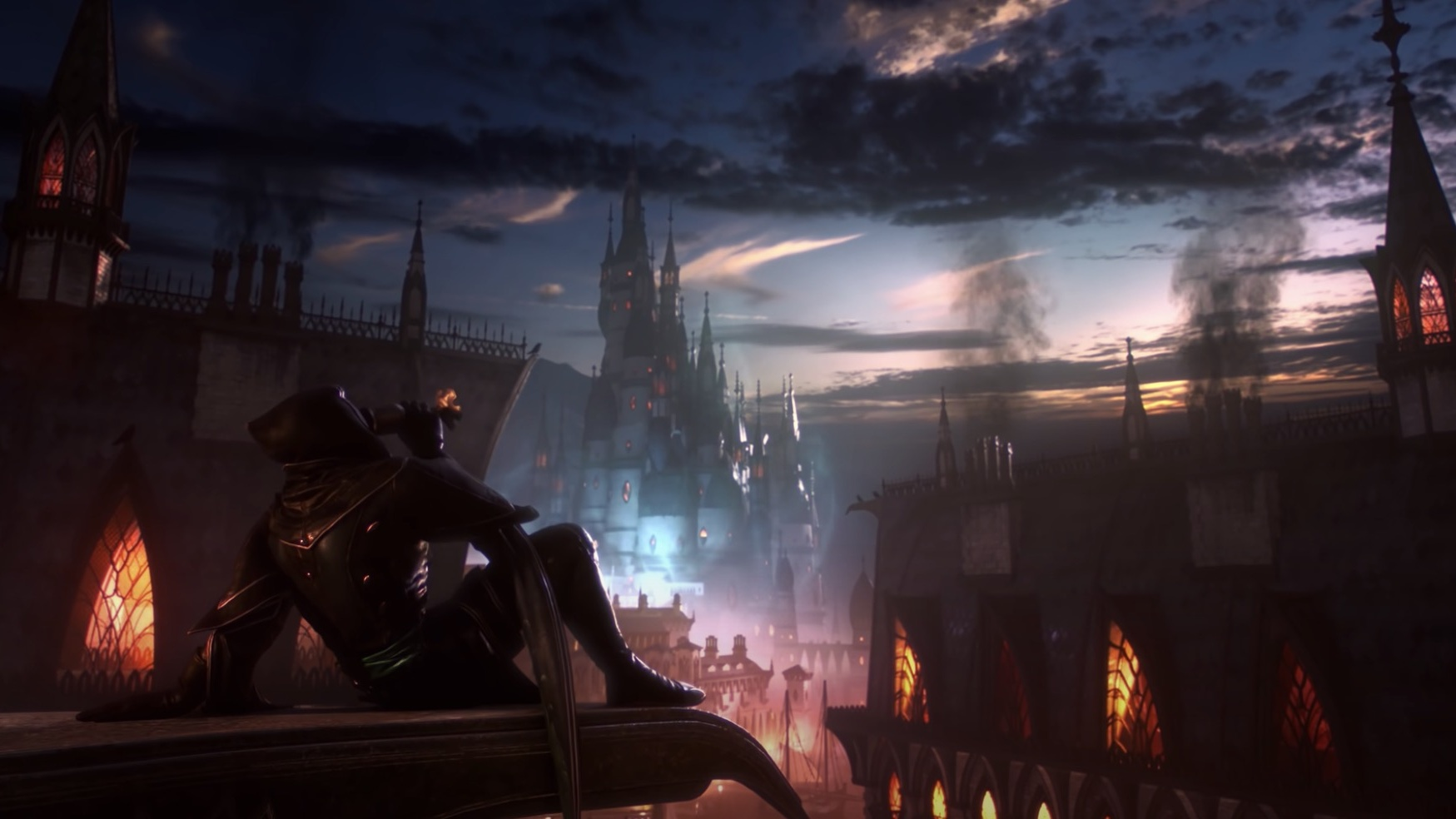Dragon Age 4 figure drinking against city backdrop