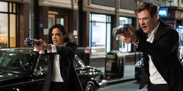 Tessa Thompson and Chris Hemsworth in Men in Black: International
