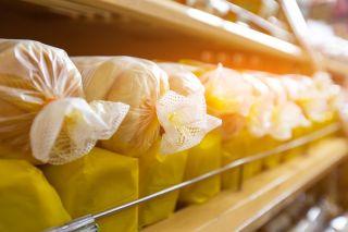 Bread on a store shelf.