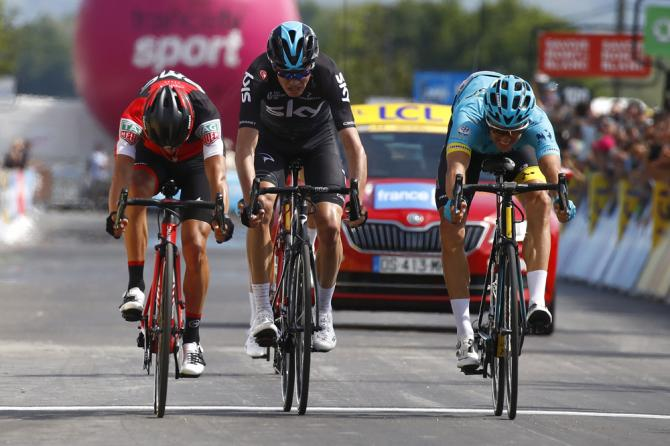 The sprint to the line was close between Porte, Froome and Fuglsang