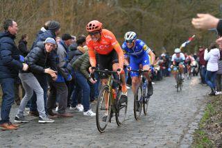 Greg Van Avermaet (CCC Team) and Zdenek Stybar (Deceuninck-QuickStep) at Omloop Het Nieuwsblad 2019
