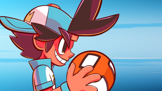 An illustration of Dodgeball Academia's protagonist, Otto. He's wearing a blue baseball cap backward and a blue and white team jersey, holding an orange dodgeball with white rectangular spots.