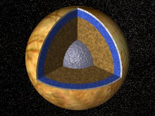 Jupiter's Moon, Europa, in Cross-section