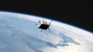 An artist's illustration of Aurora Propulsion Technologies' AuroraSat-1, a cubesat designed to demonstrate several space junk cleanup technologies. AuroraSat-1 is scheduled to launch atop a Rocket Lab Electron booster in late 2021.