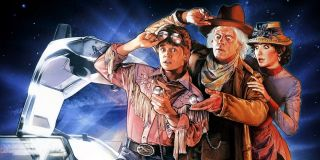 Back to the Future Part III Marty, Doc, and Clara dramatically check the time
