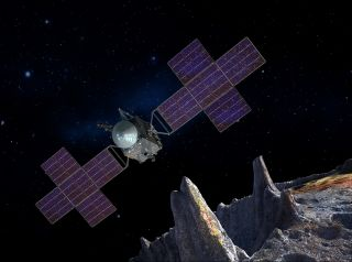 An artist's illustration showing NASA's Psyche probe approaching the metallic asteroid 16 Psyche.