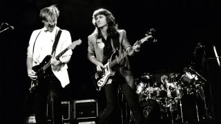 Alex Lifeson, Geddy Lee and Neil Peart of Rush live in 1982