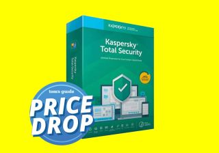 Kaspersky Total Security 2020 box art with Tom's Guide deal badge.