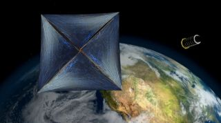 An artist's illustration of the Breakthrough Starshot project's laser sail propelled nanocraft after launch. While early concepts show the a wide parachute-shaped sail, a ball-shaped sail may be a better design, project scientists say.
