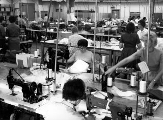 International Latex Corporation (ILC) seamstresses are seen in 1967 sewing parts for the Apollo spacesuits worn on the moon.