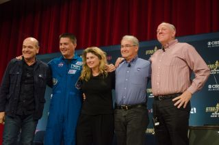 Star Trek stars and NASA staff