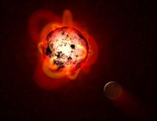 Red dwarf and exoplanet