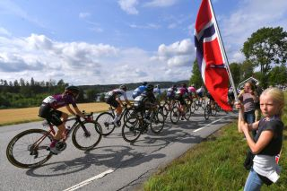 SARPSBORG NORWAY AUGUST 12 A general view of the peloton cheering by fans during the 7th Ladies Tour Of Norway 2021 Stage 1 a 1415km stage from Halden to Sarpsborg LTourOfNorway LTON21 UCIWWT on August 12 2021 in Sarpsborg Norway Photo by Luc ClaessenGetty Images