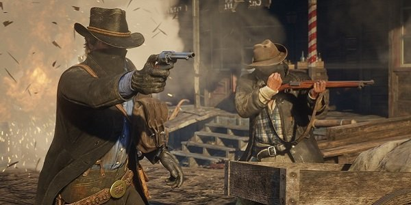 A shootout in Red Dead Redemption 2.