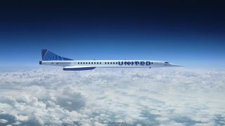 An artist's illustration of a United Airlines supersonic transport built by Boom Supersonic.