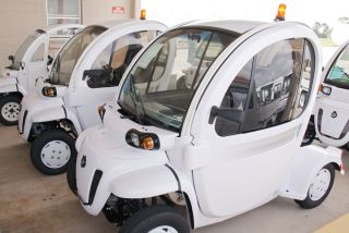 A look at NASA's low speed electric vehicles, or LSEV, used at the space agency's Kennedy Space Center in Florida