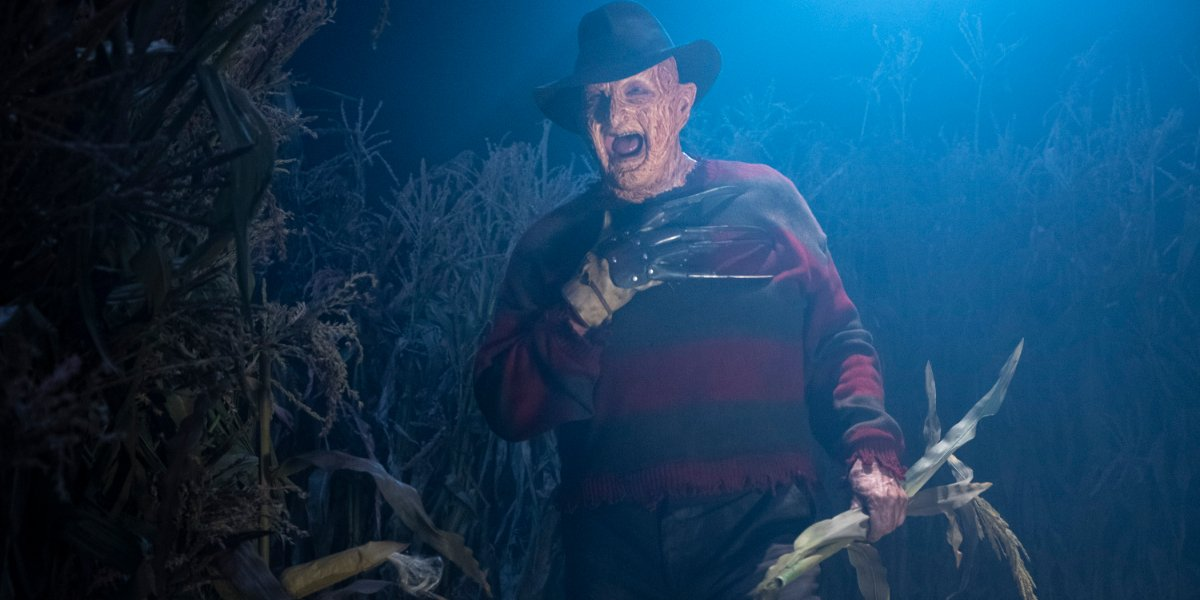 The Goldbergs Freddy Kruger smiling in a corn field