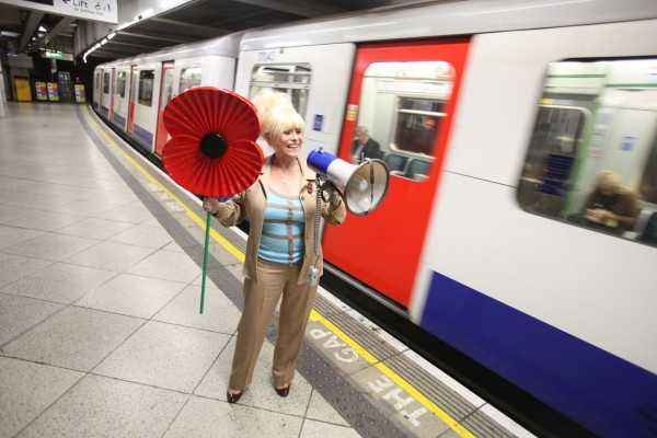 Barbara Windsor launching the British Legion's Poppy Appeal at a London Tube station
