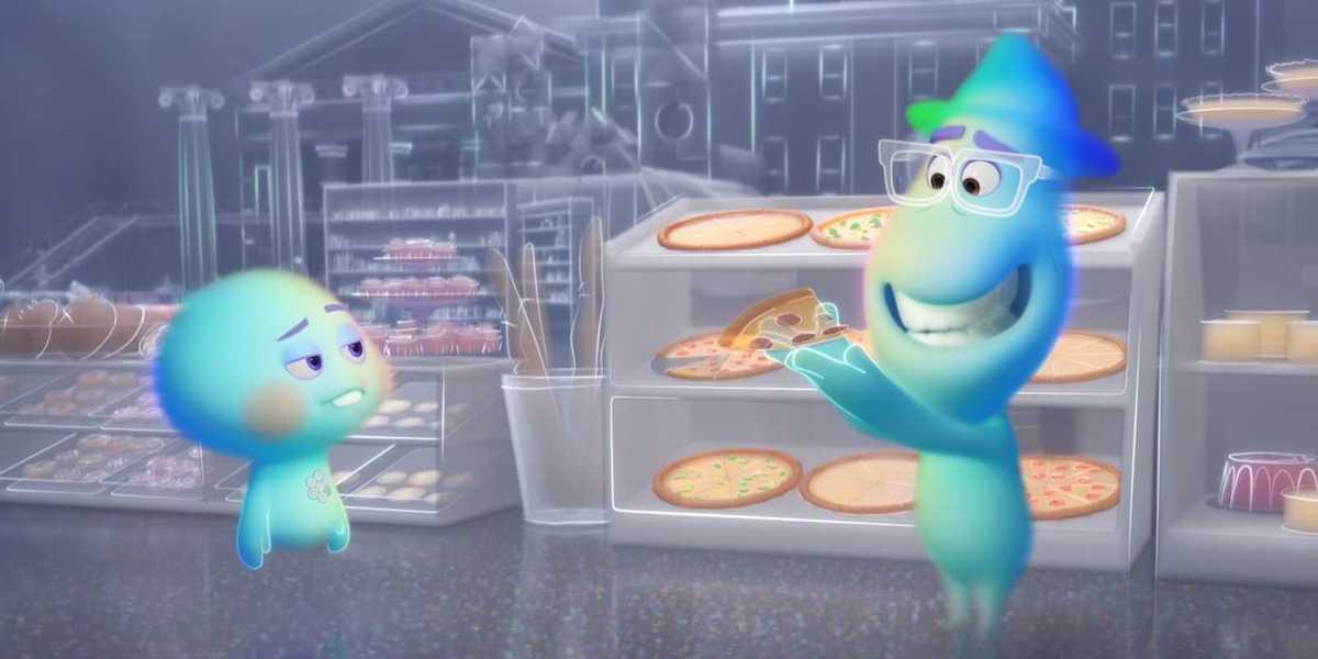Pixar Soul Joe holding metaphysical pizza