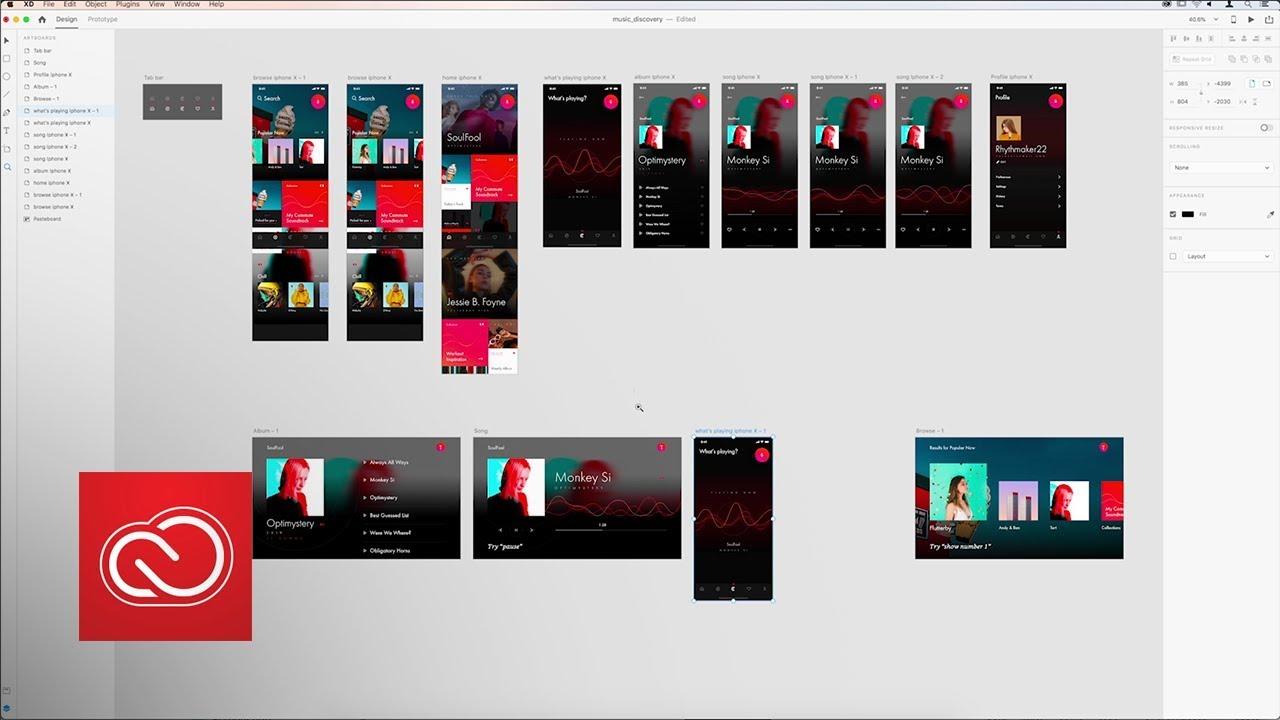 Adobe XD screengrab