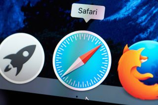 The Safari browser icon on the dock of a computer running macOS.