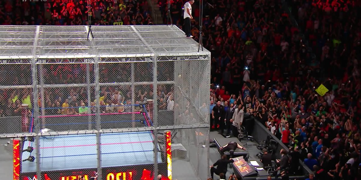 Shane McMahon just before the big jump at Hell in a Cell 2017