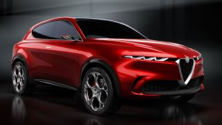 The Alfa Romeo Tonale Concept in red, on an angle