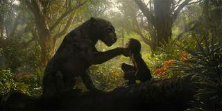 Bagheera putting his paw on Mowgli's shoulder