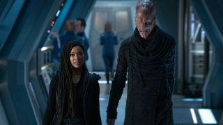 Sonequa Martin-Green as Michael Burnham and Doug Jones as Saru in Season 3 of Star Trek: Discovery.