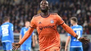Tanguy Ndombele celebrating for Lyon