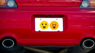 License plate with emoji