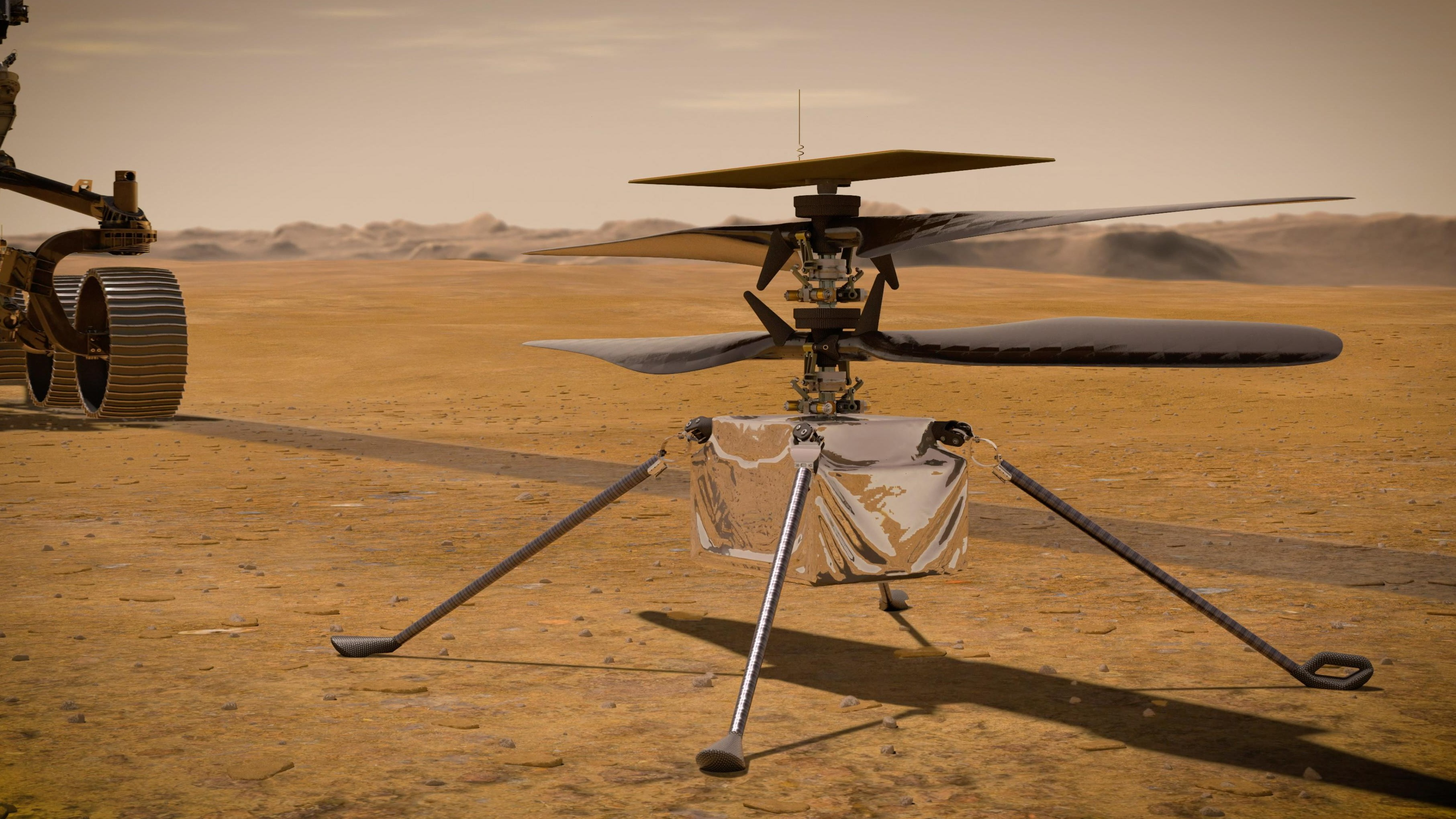 An illustration of the Ingenuity helicopter on Mars