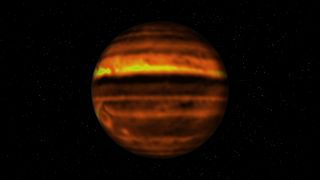 An image constructed on ALMA Data for the distribution of ammonia on Jupiter.