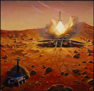 An artist's depiction of a Mars sample-return mission.