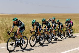 VILLADIEGO SPAIN JULY 29 Lukas Pstlberger of Austria and Team BoraHansgrohe Matteo Fabbro of Italy and Team BoraHansgrohe Lennard Kmna of Germany and Team BoraHansgrohe Jay Mc Carthy of Australia and Team BoraHansgrohe Rafal Majka of Poland and Team BoraHansgrohe Felix Grossschartner of Austria and Team BoraHansgrohe Purple Leader Jersey Peloton Landscape during the 42nd Vuelta a Burgos 2020 Stage 2 a 168km stage from Castrojeriz to Villadiego VueltaBurgos on July 29 2020 in Villadiego Spain Photo by David RamosGetty Images