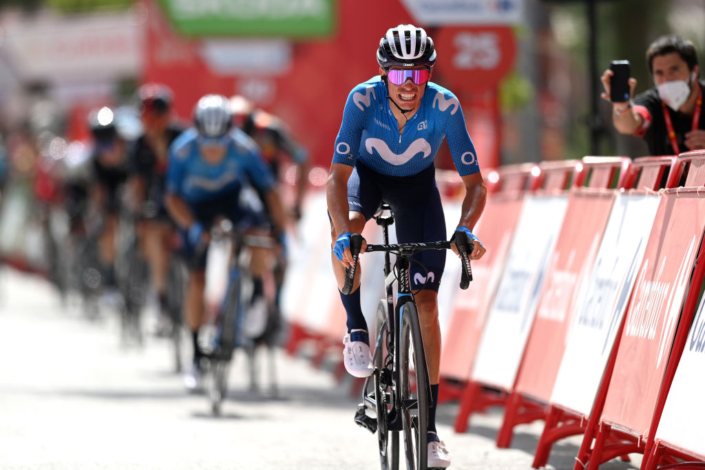 VALDEPEAS DE JAN SPAIN AUGUST 25 Enric Mas Nicolau of Spain and Movistar Team crosses the finishing line during the 76th Tour of Spain 2021 Stage 11 a 1336km stage from Antequera to Valdepeas de Jan 1009m lavuelta LaVuelta21 on August 25 2021 in Valdepeas de Jan Spain Photo by Stuart FranklinGetty Images