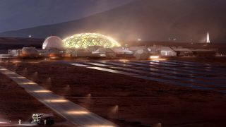 A Mars base with a well-lit domed biosphere