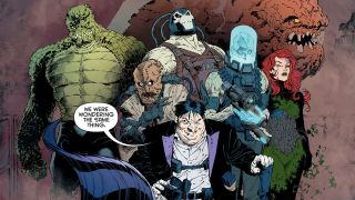 group of Batman villains including Penguin, Bane, Clayface, Scarecrow, Killer Croc, Poison Ivy, and Mr. Freeze