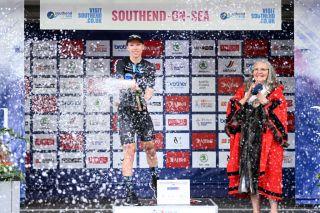 Lorena Wiebes celebrates winning stage 4 at The Women's Tour