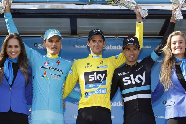 Luis Leon Sanchez, Wout Poels and Benat Intxausti on the podium after Stage 5 of the 2016 Tour of Valencia