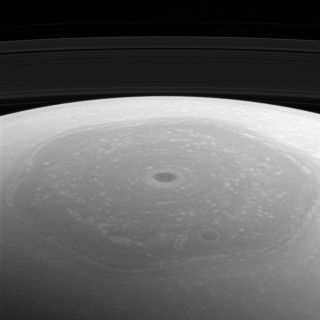 Cassini View of Saturn Vortex and Hexagon