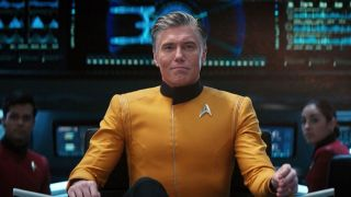 Captain Pike in the captains chair Star Trek