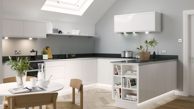white u-shaped kitchen from wren kitchens