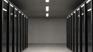 a corridor in a data center