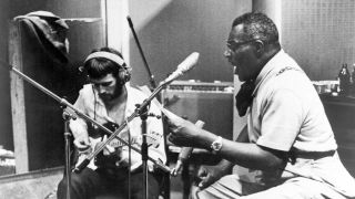 Howlin' Wolf recording in London with Eric Clapton