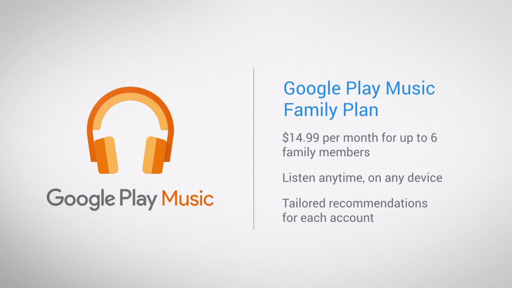 The Google Play Music family plan sweetens the pot with
