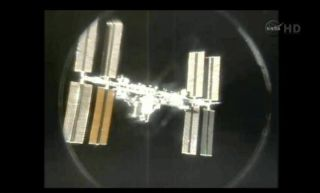 International Space Station seen from space shuttle for last time on July 19, 2011