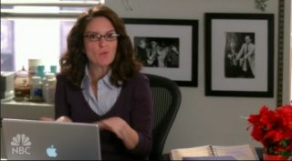 Tina Fey on 30 Rock with her not-so-discreet MacBook