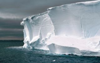 The edge of an Antarctic ice shelf.