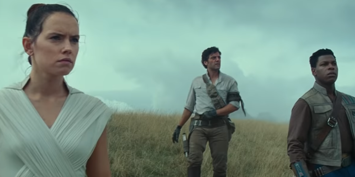 Daisy Ridley as Rey, Oscar Isaac as Poe and John Boyega as Finn in Star Wars: Rise of Skywalker